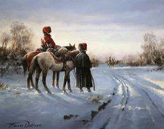 4th Hussar Regiment, Napoleon Army, in a snow landscape