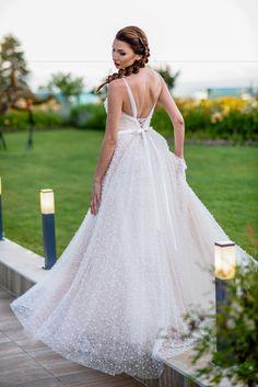 Boho chic wedding dress with pearls Princess wedding by Tonena