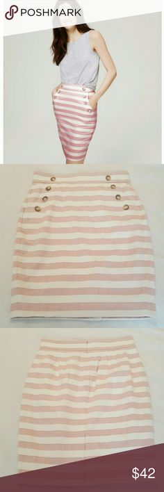 LOFT high waisted pencil skirt LOFT Petite Curvy Striped High Waist Sailor Pencil Skirt. Curvy style from LOFT. Never worn. This would be great with a crop top. LOFT Skirts Pencil
