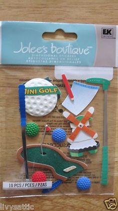 10 PC Jolee's Mini Golf Putting Green 2 Golf Clubs 4 Golf Balls & Windmill Scrapbook Stickers, Scrapbook Albums, Golf Putting Green, Golf Ball, Windmill, Golf Clubs, Baby Items, Embellishments, Christmas Ornaments