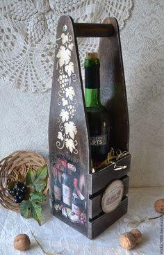 Короб для вина `Старое вино`. Короб для бутылки. Для интерьера, для кухни, подарок мужчине на 23 февраля