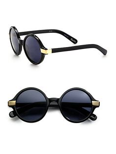 Elizabeth and James - Metal Accented Round Plastic Sunglasses - Saks.com