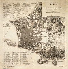 Map of City of Sao Sebastiao in Rio de Janeiro 1817
