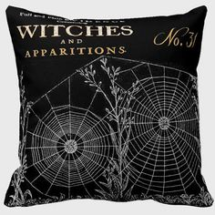 Halloween Pillow Cover Witches Spider Web Cotton and Burlap Pillow