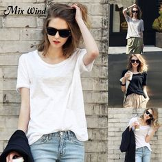 cacd73686972ab Mix Wind New Summer Fashion Tshirts for Women Female Blouse Casual Solid  Color Loose Tees O-Neck Short Sleeve Cotton White T-shirt