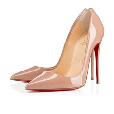 Shoes - So Kate - Christian Louboutin C$ 795.00 So Kates pointed toe and superfine stiletto heel give her an eye-catching allure. Her dramatic pitch provides you with a supremely sexy 120mm lift. In nude patent leather, she will become your favorite sky-high pump this season.