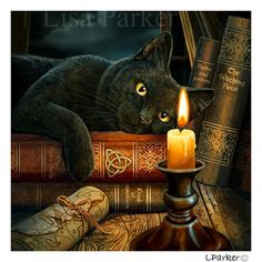 """Witching Hour"" Black Cat Card by Lisa Parker"