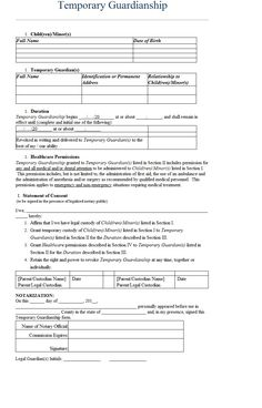 temporary custody template bestsellerbookdb sample notarized letter for guardianship ledger paper intended