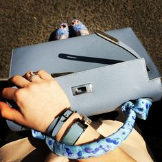 Pale Blue Hermes Collection. Clic Clac, Kelly Bag, Twilly
