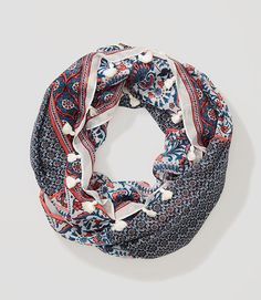 Image of Floral Mosaic Tasseled Infinity Scarf