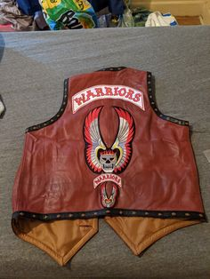 The back of the Warriors vest with mini patches received for free from Motoleatherwear. Warrior Movie, Patches, Vest, Mini, Movies, Films, Cinema, Movie, Film