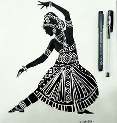 Indian classical dance is sustained by a profound philosophy. Form seeks to merge with the formless motions seek to become a part of the motionless and the dancing individual seeks to become one with the eternal dance of the cosmos. Girl Drawing Sketches, Art Drawings Sketches Simple, Pencil Art Drawings, Black Pen Drawing, Dance Paintings, Indian Art Paintings, Tattoo Design Drawings, Tattoo Designs, Zantangle Art