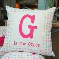 Girls personalised polka dot cushion - great for new babies and Christenings! www.littledelivery.com