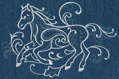 Running Horse (Whitework) design (M4535) from www.Emblibrary.com