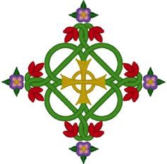 Celtic Rosey Cross Embroidery Design.This beautiful Celtic-inspired cross is an exclusive design created by Celtic artist Cari Buziak.