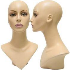 V-Neck Female Fleshtone Mannequin Head Form with Realistic Make-Up & False Eyelashes www.displayimporter.com $36.99