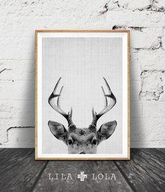 Deer Print, Deer Antlers, Woodlands Decor, Wilderness Wall Art, Nursery Black and White, Animal Print, Printable Art, Kids Room Art