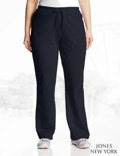 Jones New York Women's Plus-Size Slim Leg Pant with Rib Waist Band