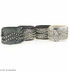 BOBBY SCHANDRA'S Crystal Chain Phyton Leather Cuff Bracelet (PURPLE) BOBBY SCHANDRA. $49.99. Save 23%!