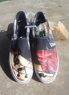 3015ce47523 unisex hand painted rose music notes shoes by kdylewski on Etsy