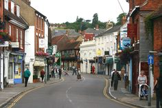 """In Farnham / England - This """"High Street"""" is so typical of many British towns Places Ive Been, Places To Go, Farnham Surrey, British Isles, Home And Away, Beautiful Places, England, Street View, Airports"""