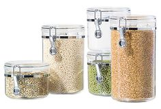5-pc Acrylic Canister set w/Clamps by Oggi $22 @ One Kings Lane