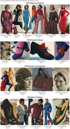 1972 fashion vintage style poster 70s shoes dress hat turban men women pants