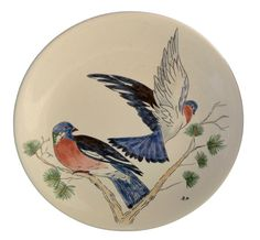 Antique French Gien Majolica Plate - Pair Of Pigeon - Hand Painted Dinner Plates - Decorative Bird Wall Plate - French Country Cottage