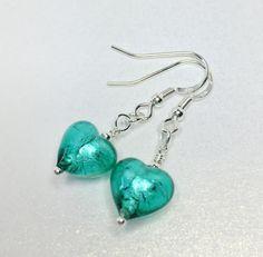 Sapphire Murano Glass Earrings Small Heart by LynnsGemCreations