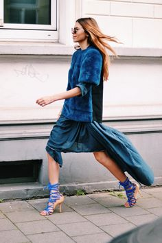 women style outfit clothes fashion apparel blue color outfit heels