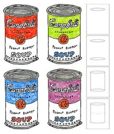 Andy Warhol Soup Cans - four to a page; prepare template for the kids to follow; or have each child draw own can then make four copies
