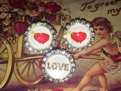 sweet Valentine butons with rhinestones Like Buttons? Join our Facebook Group Button Button Who's Got the Button https://www.facebook.com/groups/whosgotbuttons/
