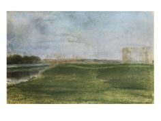 Meadow Along a River Giclee Print by Edgar Degas at Art.com