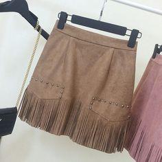 Suede Tassel Rivets Bodycon Size Zipper Mini Skirt