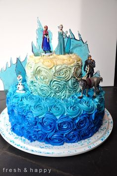 2014 DIY Blue Ombre Frozen Elsa Cake - Birthday Party, Halloween #Halloween