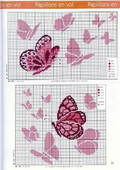 pink butterfly cross stitch by Wendy Bendell