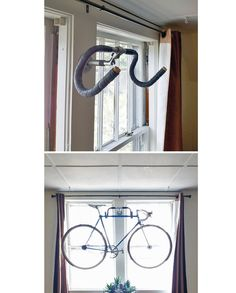 Hanging bike rack made out of old handlebars! Awesome.