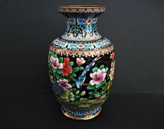 Large Vintage Chinese Cloisonne Enamel Bird and by LotusInTheWind