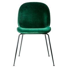 Chaise Beetle velours vert - piétement noir - Gubi