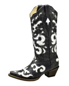 Country Outfitter: Corral Antiqued Black/White Inlay Boot- LOVE these boots!!!