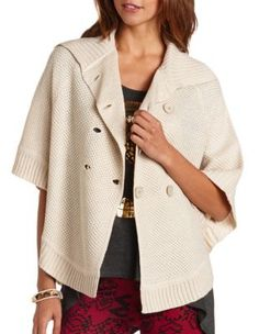 Button-front knit poncho