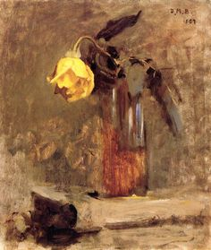 """Vase with Yellow Rose,"" Dennis Miller Bunker, 1887, oil on canvas, 14 x 12"", private collection."