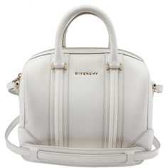 Pre-owned Givenchy Lucrezia Mini White Leather Satchel ($1,093) ❤ liked on Polyvore featuring bags, handbags, white leather handbags, satchel purse, leather handbags, white purse and genuine leather handbags