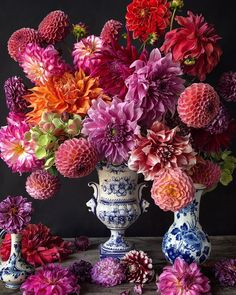 This beautiful dahlia bouquet was arranged by Natasja of She makes incredible real looking flowers made of sugar. Flower Farm, My Flower, Dahlia Bouquet, Floral Photography, Arte Floral, Sugar Flowers, Flower Making, Floral Arrangements, Table Arrangements