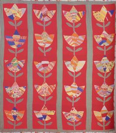 Tulip Quilt, 1940. Made by Mary Lizzie Parham. Putnam Co, Georgia.