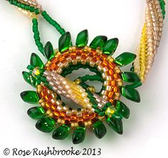 Magatamas and seed bead clasp and toggle from Summertime Necklace by Rose Rushbrooke