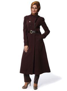 19143a106e1 Deri Nervürlü Kaşe Kaban 7092 - Bordo - Doque Winter Coats