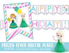 DIY printable Frozen fever digital banner party flags by Pinkinks