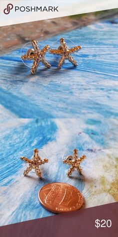 Gold-Tone Starfish Studs Adorable gold-tone sea star shaped earrings. Silver also available. Additional keywords: ocean sea beach tropical ocean-star oceanstar seastar sea-star star-fish star fish Jewelry Earrings