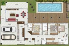 Tiny House Plans, House Floor Plans, Villa Plan, Classic House Design, Building Plans, Future House, Home Projects, Layout Design, Home Improvement